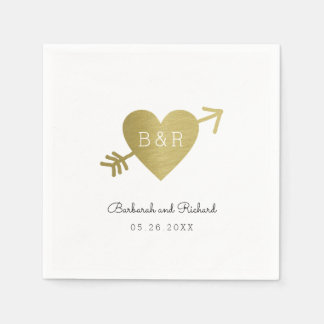 love heart arrow and names, wed personalized paper napkin