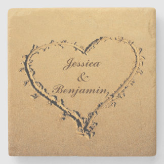 Love Heart at the Sandy Beach Personalized Names Stone Coaster