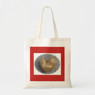 Love heart bag with red background