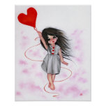 Love Heart Balloon Little Girl in Air Poster