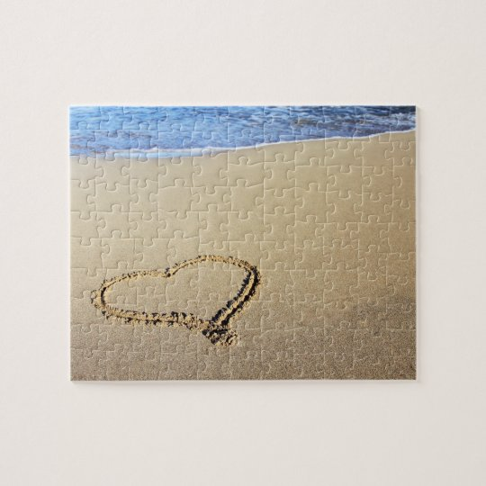 Love Heart Beach Jigsaw Puzzle
