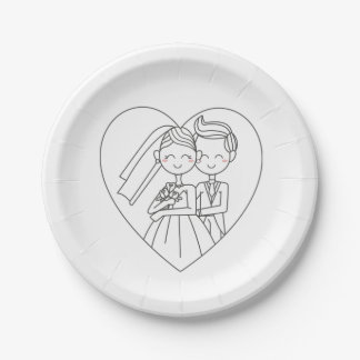 Love Heart Bride & Groom Black And White Wedding 7 Inch Paper Plate