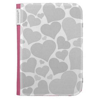Love heart case - silver grey, unique, pretty cases for the kindle