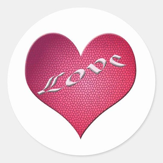 Love Heart Classic Round Sticker