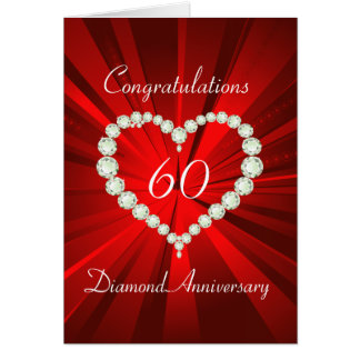 Love Heart Diamond 60th Anniversary Card