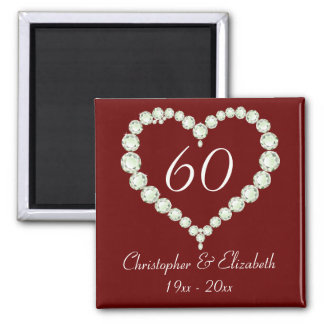 Love Heart Diamond Anniversary Memento Square Magnet