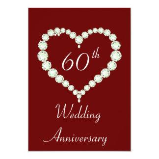 "Love Heart Diamond Anniversary Party 5"" X 7"" Invitation Card"