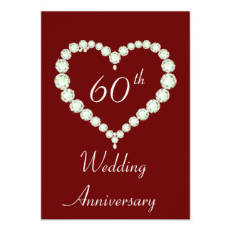 Love Heart Diamond Anniversary Party Cards