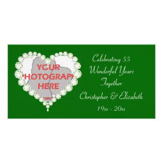 Love Heart Diamond Emerald Anniversary Customized Photo Card