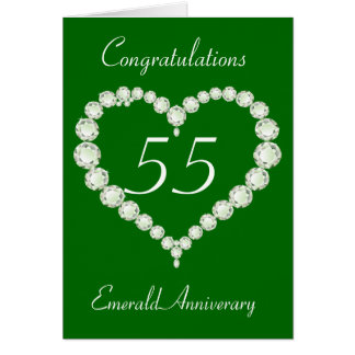 Love Heart Diamond Emerald Anniversary Greeting Card