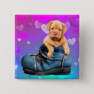 Love Heart Dogue de Bordeaux Puppy in a Boot 2 Inch Square Button