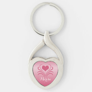 Love Heart Flair Curlicue Stencil Pick Any Color Key Chain