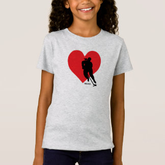 Love Heart Hockey Girls T-Shirt