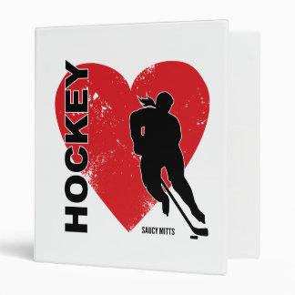 Love Heart Hockey Vinyl Binder