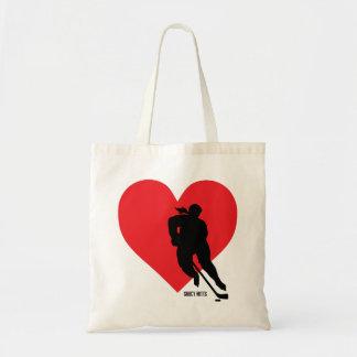 Love Heart Hockey Women's Hockey Girls Hockey Tote Bag