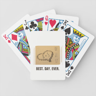 Love Heart in the Sand Beach Wedding Best Day Ever Bicycle Playing Cards