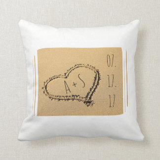 Love Heart in the Sand Beach Wedding Personalized Throw Pillow