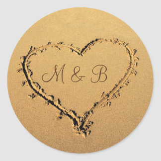 Love Heart in the Sand Personalized Monograms Classic Round Sticker