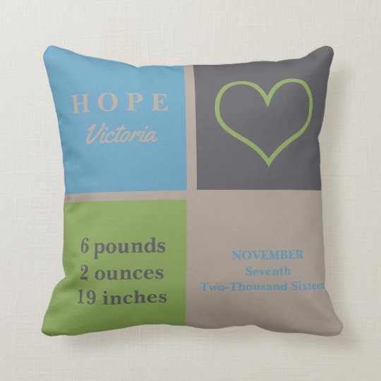LOVE Heart Infant Nursery Neutral Birth Stats Throw Pillow