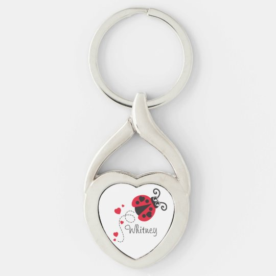 Love heart ladybug named key ring Silver-Colored twisted heart keychain