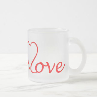 Love heart on white background frosted glass coffee mug