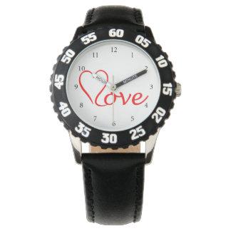 Love heart on white background watch