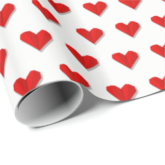 Love Heart Origami Pattern Wrapping Paper
