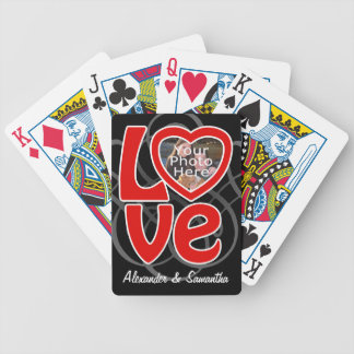 Love Heart Photo Frame Custom Playing Cards