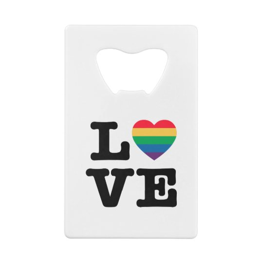 Love Heart Pride Credit Card Bottle Opener