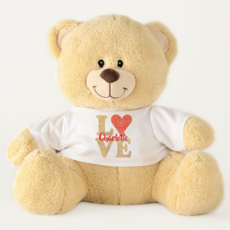 Love Heart Red Gold Pretty Romantic Personalized Teddy Bear