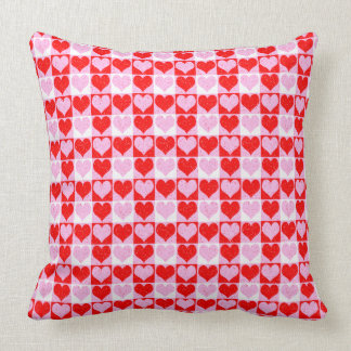 Love Heart Red Pink and White Check Pattern Pillow