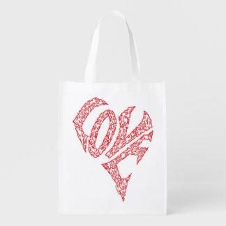 LOVE HEART REUSABLE GROCERY BAG