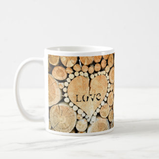 Love, heart, romance, wood mosaic coffee mug