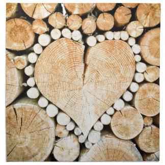 Love, heart, romance, wood mosaic napkin