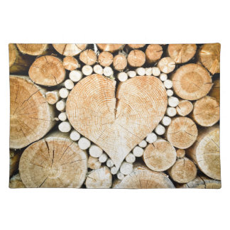 Love, heart, romance, wood mosaic placemat