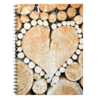 Love, heart, romance, wood mosaic spiral note books