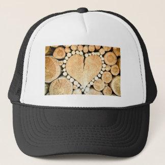 Love, heart, romance, wood mosaic trucker hat