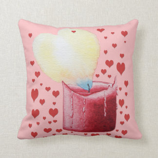 love heart shaped flame red candle illustration throw pillow