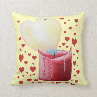 love heart shaped flame red candle illustration pillow