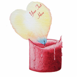 love heart shaped red candle romantic photo sculpture keychain