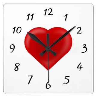 Love Heart Square Wall Clock