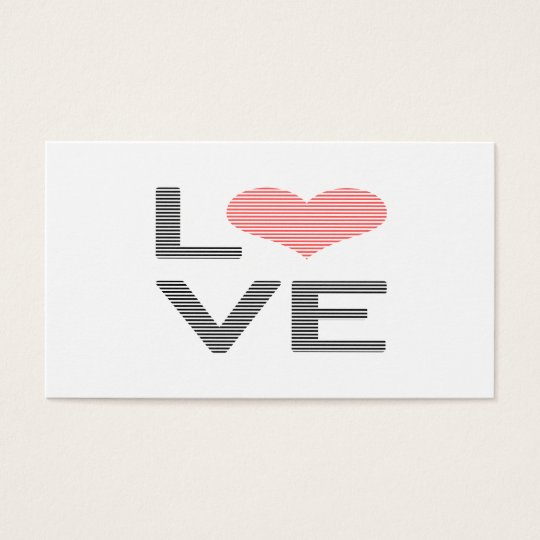 Love - heart - strips - black and pink. business card