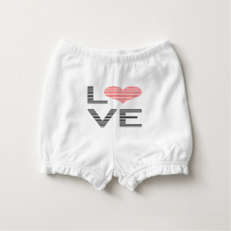 Love - heart - strips - black and pink. diaper cover