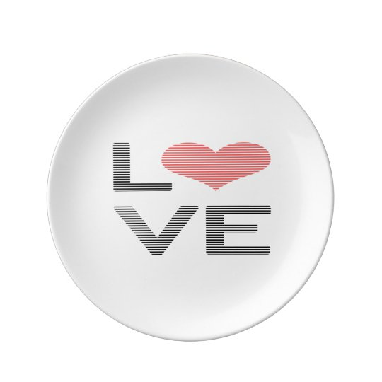 Love - heart - strips - black and pink. plate