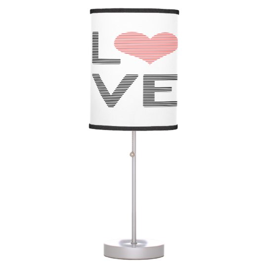 Love - heart - strips - black and pink. table lamp