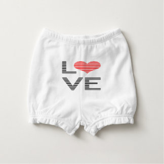 Love - heart - strips - black and red. diaper cover