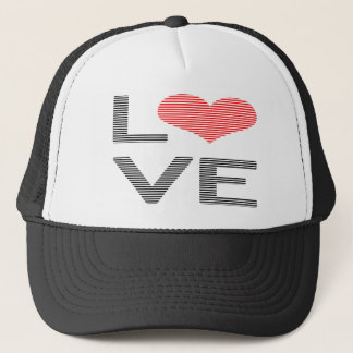 Love - heart - strips - black and red. trucker hat