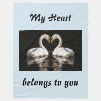 Love Heart swans blanket
