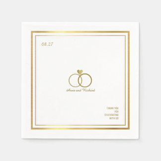love heart & two wedding rings, an elegant disposable napkins