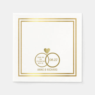 love heart & two wedding rings personalized paper napkins